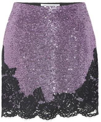 Philosophy di Lorenzo Serafini Lace-trimmed sequined miniskirt