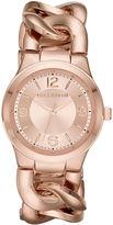 Liz Claiborne Womens Rose-Tone Chain Bracelet Watch