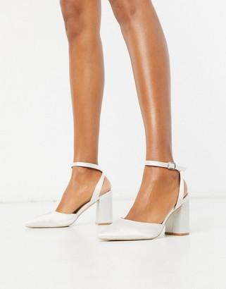 Be Mine Bridal Neima block heeled shoes in ivory satin