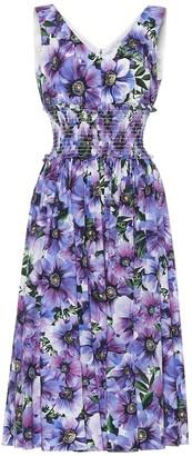 Dolce & Gabbana Floral cotton poplin midi dress