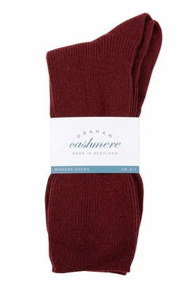 Graham Cashmere - Womens Cashmere Rib Socks - Made in Scotland - Gift Boxed (Bordeaux)