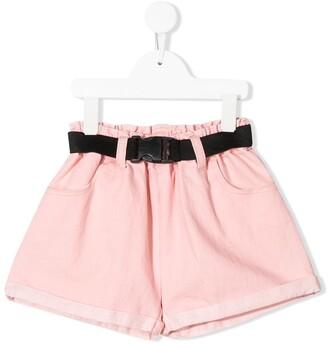 Andorine Belted Wide-Leg Denim Shorts