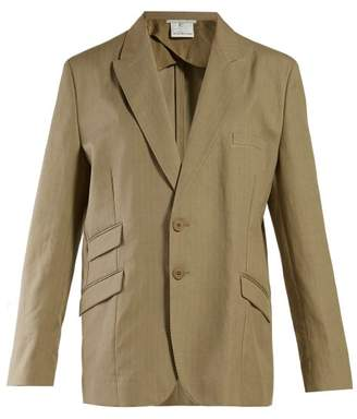Stella McCartney Herringbone Oversized Single Breasted Blazer - Womens - Khaki