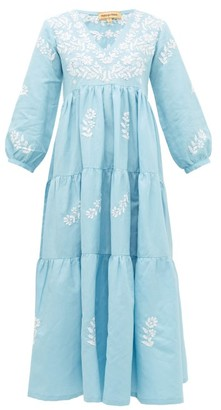 Muzungu Sisters - Frangipani Floral-embroidered Tiered Dress - Blue Multi