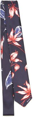 Prada Floral Print Twill Tie