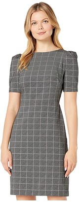 Lauren Ralph Lauren Bantam Windowpane Woven Malabari Elbow Sleeve Day Dress (Black/White) Women's Clothing
