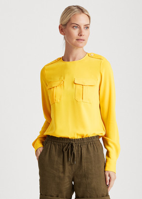 Ralph Lauren Matte Crepe Long-Sleeve Top