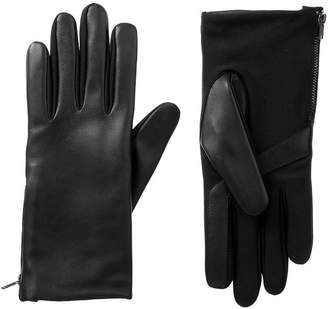 Isotoner Cold Weather Stretch Leather Gloves with Side Zipper