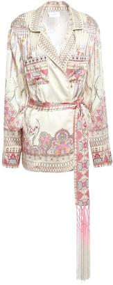 Camilla Golden Age Fringe-trimmed Embellished Printed Washed-silk Jacket