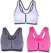Uskincare 3 Piece Women's Sports Bra Multi-Color Athletic Underwear Seamless Zipper Shockproof (L, )