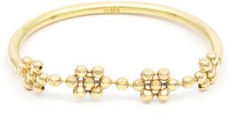 Poppy Finch 18k Gold Flower Beaded Ring, Size 6-8