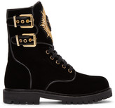 Balmain Black Velvet Eagle Combat Boots