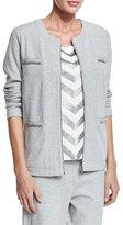 Joan Vass Four-Pocket Interlock Jacket, Plus Size