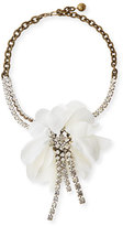 Lanvin Flower Chain & Crystal Choker Necklace, White