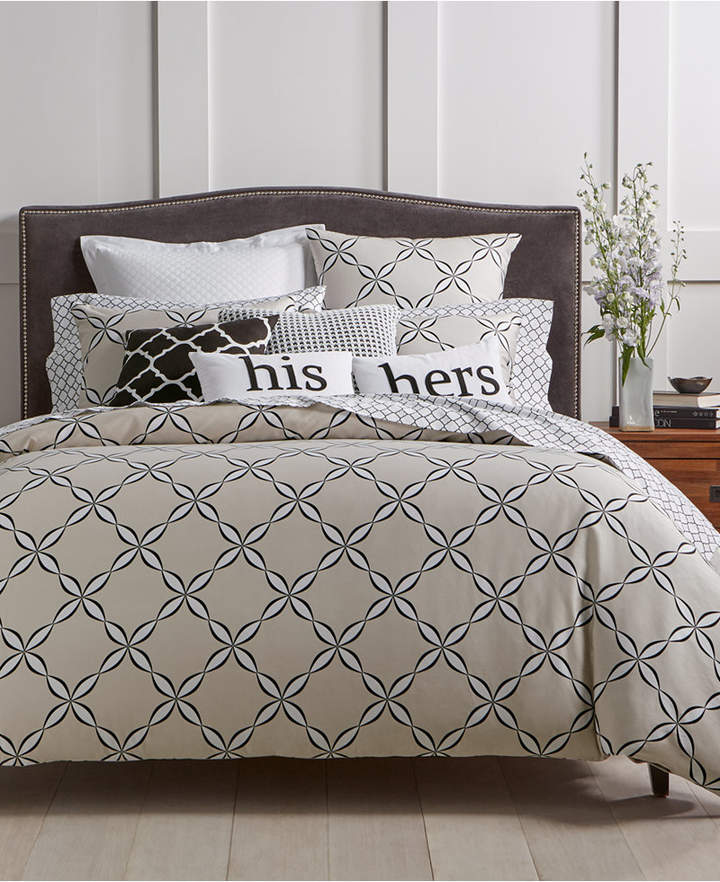 Charter Club CLOSEOUT! Outlined Geo Duvet Cover Sets, Created for Macy's