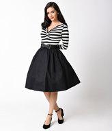 Lindy Bop 1950s Style Black & White Stripe Long Sleeve Sinead Swing Dress