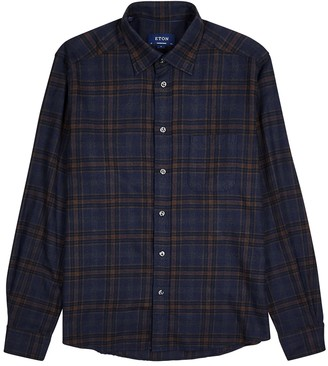 Eton Navy contemporary checked cotton shirt