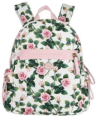 Dolce & Gabbana Kids Zaino Nylon St.Rose+Vit.Nappa (Rose Rosa Fdo.Panna) Backpack Bags