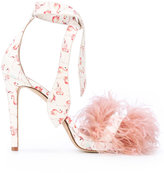 Gianna Meliani flamingo print feather sandals - women - Leather - 35