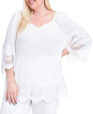 Fever Plus Size Lace-Trim Striped Top