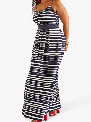 Yumi Plus Size Nautical Stripe Jersey Maxi Dress, Navy