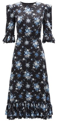 The Vampire's Wife The Falconetti Floral-print Ruffled Silk Dress - Black Blue