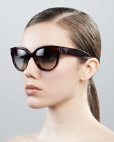 Prada Cat-Eye Retro Rectangle Sunglasses, Red Havana