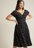 Emily And Fin Pleated Midi Dress in Black Martini in S - Short Sleeve A-line by from ModCloth