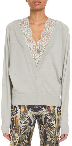 Lace-Inset V-Neck Wool-Silk Pullover Sweater