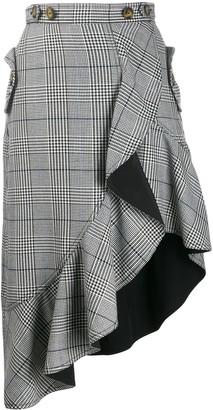 Self-Portrait Glen check asymmetric skirt