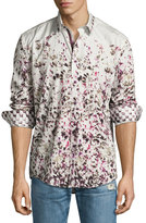 English Laundry Printed Woven Sport Shirt, Burgundy