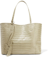 Nancy Gonzalez Crocodile-trimmed Python Tote - Sage green