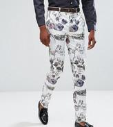 Asos Tall Wedding Skinny Smart Pants In Pastel Floral Print