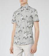 Reiss Reiss Monet - Floral Print Shirt In Brown, Mens