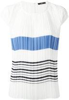 Steffen Schraut pleated striped front T-shirt - women - Polyester - XS