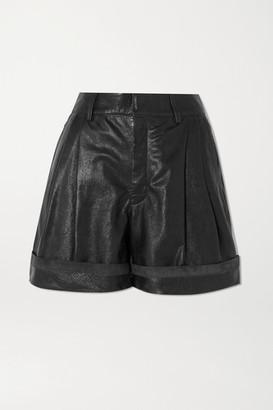 Chloé Pleated Leather Shorts - Black
