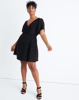 Madewell Cape-Sleeve Mini Dress in Metallic Dots