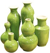 The Well Appointed House Set of Six Lime Porcelain Vases - OUT OF STOCK -