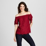 Miss Chievous Women's Lace Off the Shoulder Top Juniors') Red