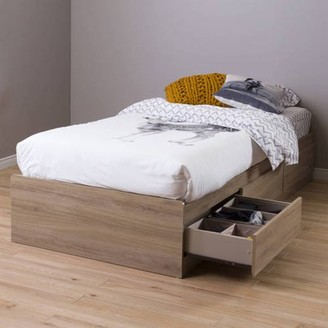 South Shore Fynn Twin Mates Bed with 3 Drawers, Gray Oak