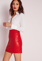 Missguided Tall Faux Leather Mini Skirt Red