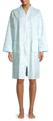Miss Elaine Floral Quilted Cotton-Blend Robe