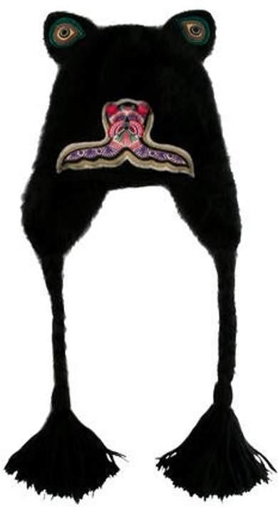 2a97125de Angora Embroidered Beanie Black Angora Embroidered Beanie