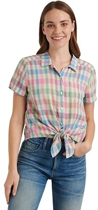 Lucky Brand Short Sleeve Button-Up One-Pocket Tie Front Shirt (Multi) Women's Clothing