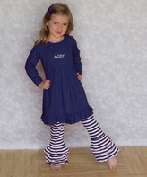 Princess Linens Navy Personalized Tunic & Ruffle Pants - Infant, Toddler & Girls
