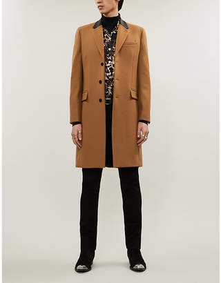 The Kooples Leather collar long wool coat