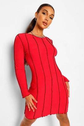 boohoo Tall Overlock Stitch Detail Bodycon Dress