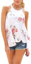 Fenleo Womens Halter Neck Floral Tank Tops Casual Blouse T Shirt (S, )