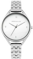Karen Millen Women's Quartz Watch with White Dial Analogue Display and Silver Stainless Steel Bracelet KM130SM