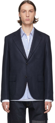 Junya Watanabe Navy Silk and Wool Blazer